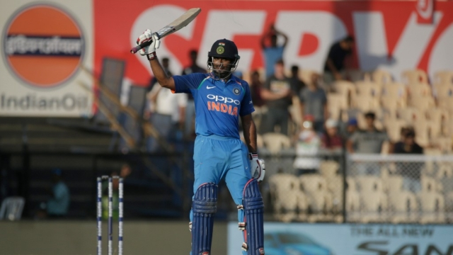 India's Ambati Rayudu after bringing up his century against West Indies in Mumbai on Monday.