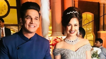 Prince Narula and Yuvika Chaudhary at their wedding reception.