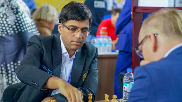 World Rapid Champion Viswanathan Anand was held to a draw by Egyptian Grandmaster Amin B in the seventh round of the 43rd chess olympiad on Monday.