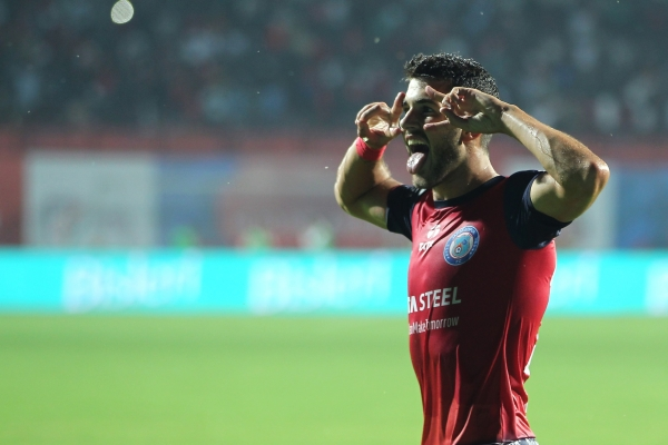 Home team player Sergio Cidoncha celebrates the goal against ATK the match in Hero ISL.