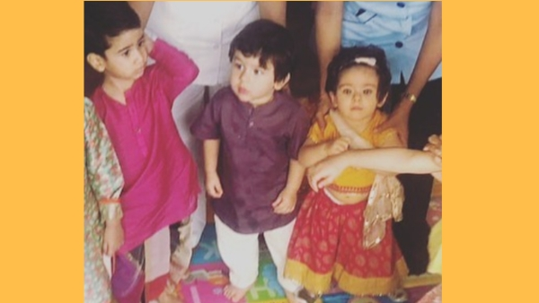 Pictures of Laksshya Kapoor, Tushar Kapoor's son, Taimur and his cousin Inaaya at their junior dandiya bash are doing the rounds on social media.