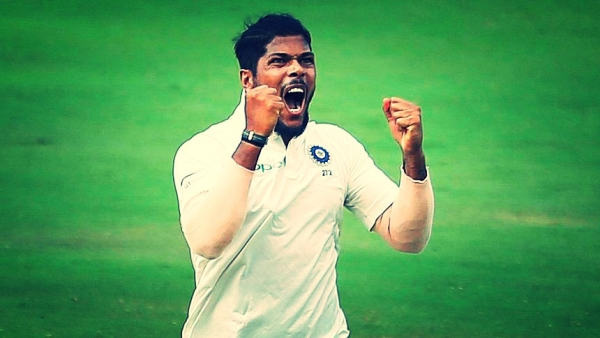 Umesh Yadav celebrates a wicket during the second Test against Windies.