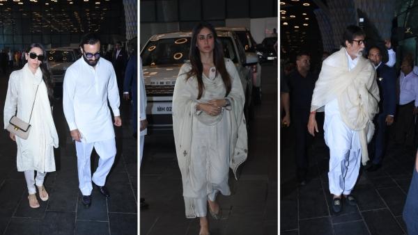 Karisma Kapoor, Saif Ali Khan, Kareena Kapoor and Amitabh Bachchan at the prayer meet.