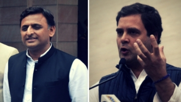 Akhilesh Yadav (left) and Rahul Gandhi (right).