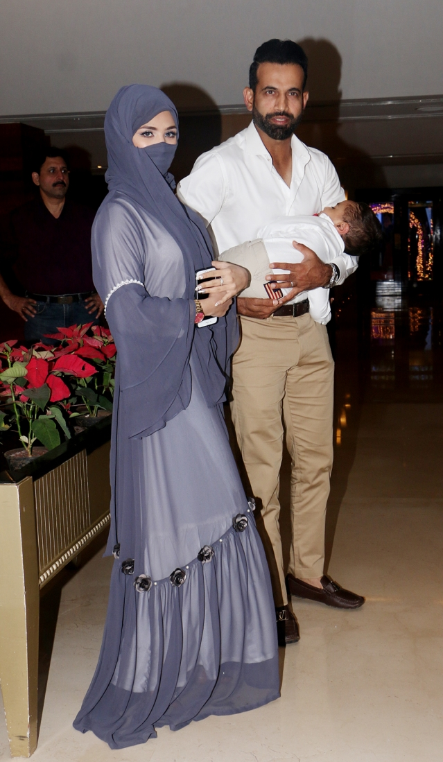 Irrfan Pathan with his wife and child at the wedding.