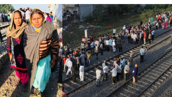 Walking on the tracks is 60-year-old Rekha telling people how her nephew, Aashu, looked.