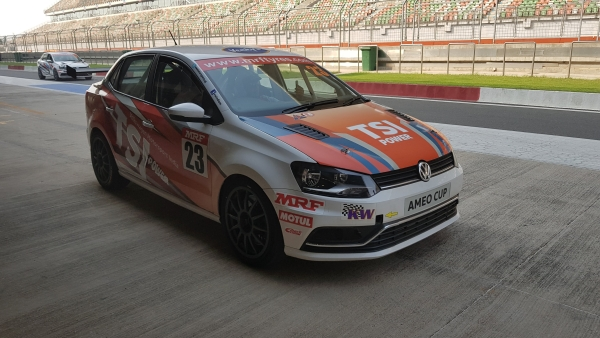 The Volkswagen Ameo Cup Car with a 1.8 litre TSI (turbo-petrol) engine.