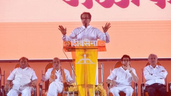 Shiv Sena Chief Uddhav Thackeray addressed supporters at party's annual Dussehra rally at Shivaji Park in Mumbai on Thursday, 18 October.