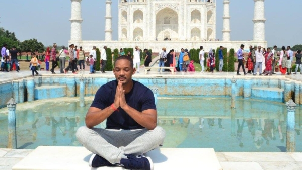 Actor Will Smith on a visit to the Taj Mahal.