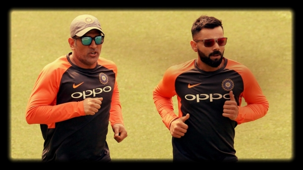MS Dhoni and Virat Kohli ahead of India's first ODI against West Indies.