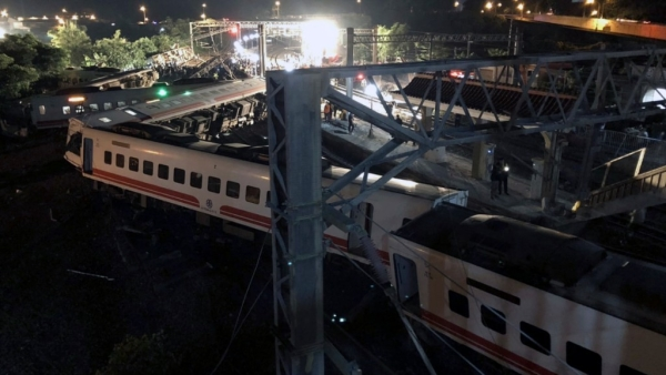 The Puyuma express train was carrying more than 300 passengers toward Taitung, a city on Taiwan's southeast coast, when it went off the tracks on Sunday afternoon.
