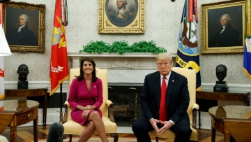 Nikki Haley and US President Donald Trump during their meeting at the Oval office where they announced Haley's resignation.