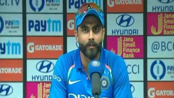 Ravindra Jadeja at the post match press conference.