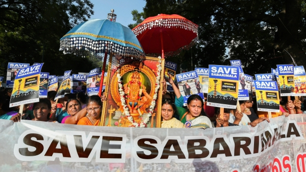 A file photo of devotees protesting against the Supreme Court's verdict on the entry of women in Sabarimala's Lord Ayyappa Temple.
