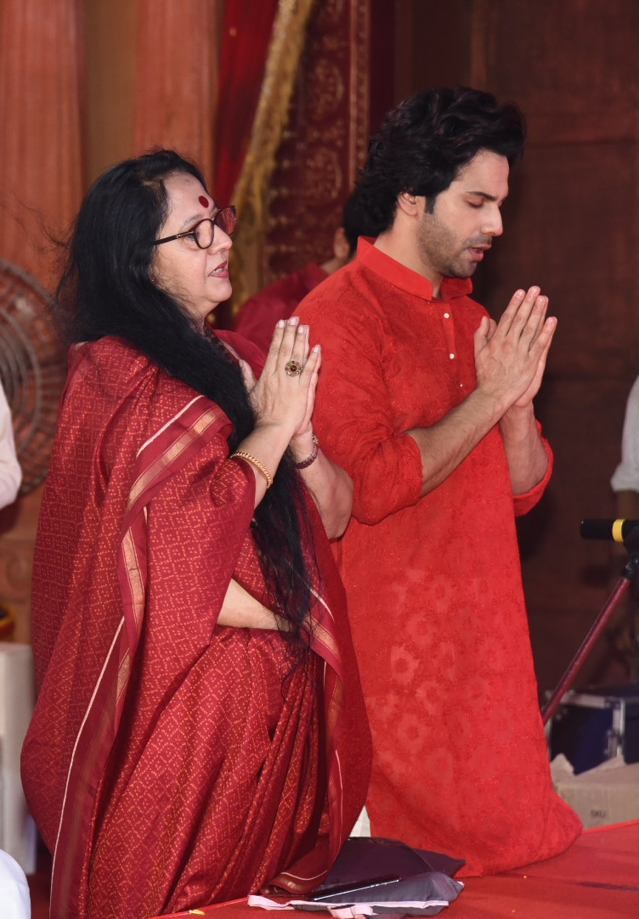 Varun Dhawan deep in prayer.
