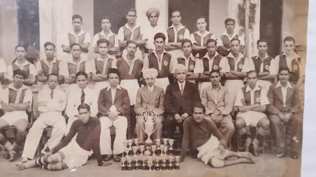 Bangalore Muslims team after winning a local tournament.