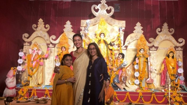 The Sen girls all decked up for Durga Puja.
