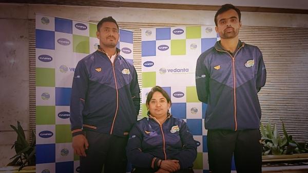 Sundar Gurjar (left), Shatabdi Avasthi (centre) and Sandeep Mann (right) at an event in New Delhi on 26 September 2018.