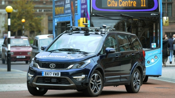 A self-driving Tata Hexa on the streets in Coventry, UK.