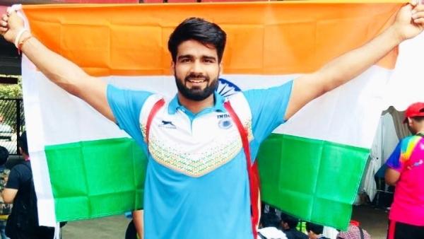 Javelin thrower Sandeep Chaudhary at Asian Para Games.