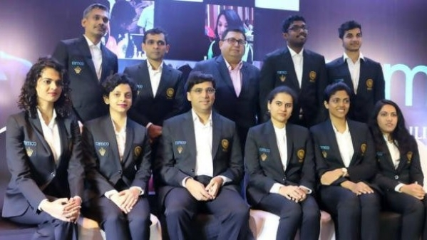 Indian chess team photo at 43rd Chess Olympiad.