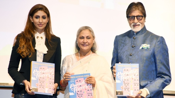 Jaya and Amitabh Bachchan with Shweta at the book launch.