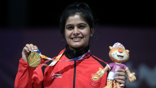 Manu Bhaker with her gold medal at the Youth Olympic Games in Buenos Aires on Tuesday.