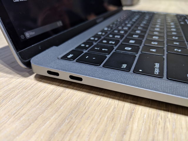 Two thunderbolt ports on the new MacBook Air.