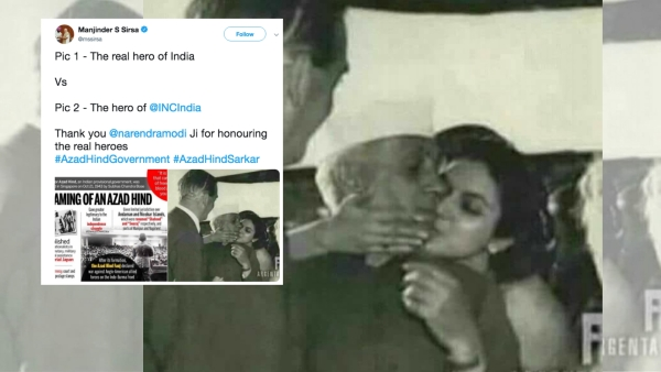 In the picture tweeted by Sirsa, Nehru is being given a kiss by his niece Nayantara Sehgal on his arrival at London airport in 1955.