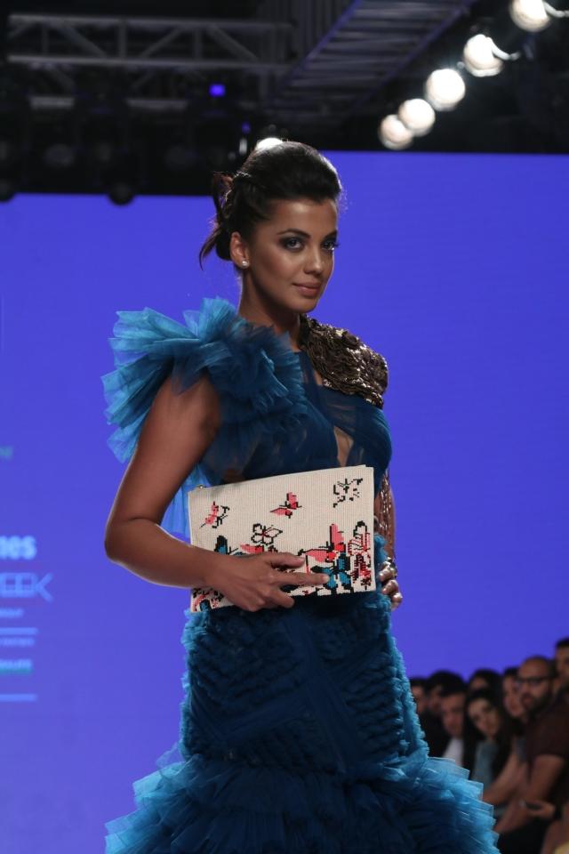 Actor Mugdha Godse goes blue at the fashion week.