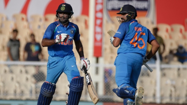 India's Rohit Sharma and Ambati Rayudu put up a 211-run stand for the third wicket.