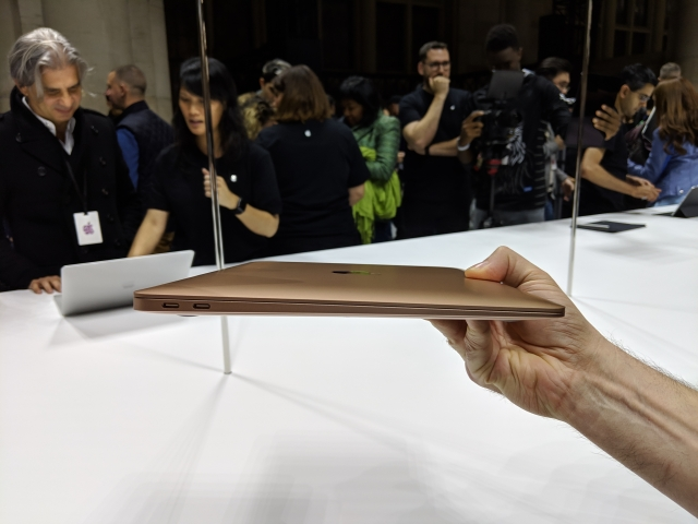 The MacBook Air is extremely light and thin.