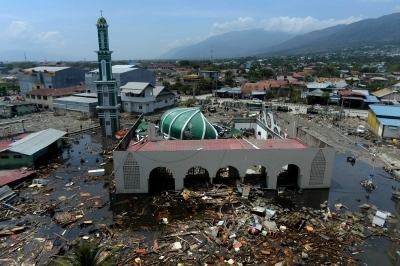 4 2018 shows a collapsed mosque in the wake of an earthquake in Palu Indonesia. The death toll from multiple quakes and a tsunami in Indonesia