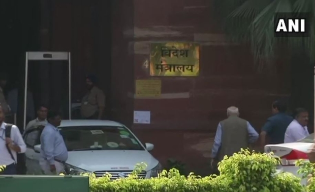 MJ Akbar arrives at the Ministry of External Affairs in South Block.