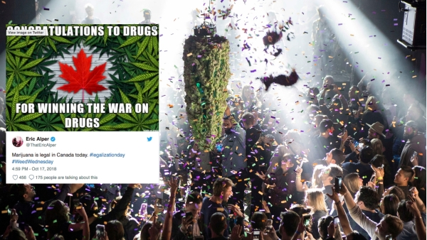 Canadians celebrate the legalisation with a large artificial bud.