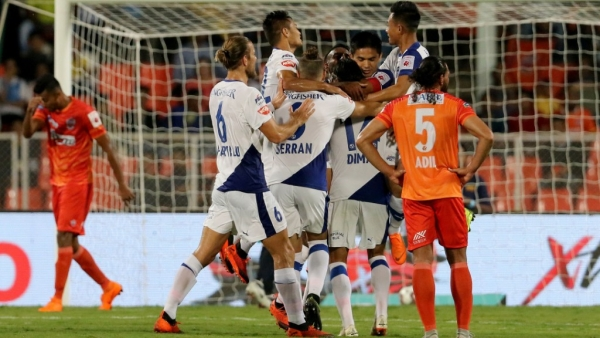 Bengaluru FC players celebrate their first victory on the road against FC Pune City in at Shree Shiv Chhatrapati Sports Complex Stadium in Pune.