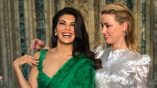 Jacqueline Fernandez with Amber Heard at the One Young World Summit.
