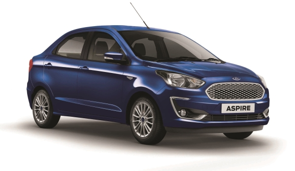 The 2018 Ford Aspire gets a revised front bumper, headlamp and grille.