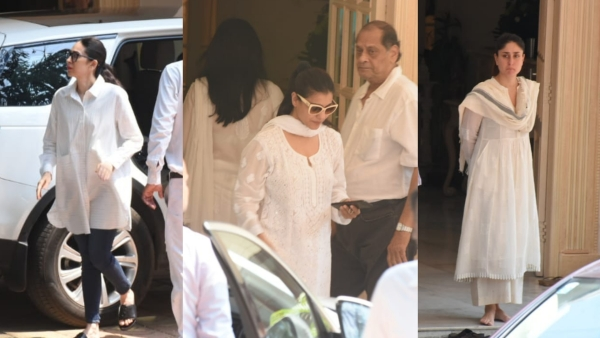 Karisma Kapoor, Kajol and Kareena Kapoor at Krishna Kapoor funeral.