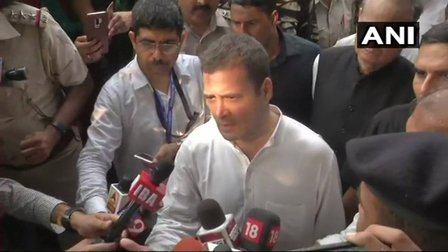 Rahul Gandhi addresses mediapersons after leaving Lodhi Colony station