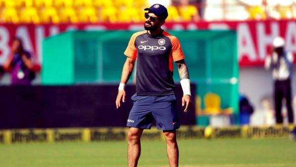 Virat Kohli attends a practice session.