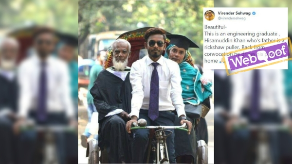 The photo shared on social media claims that the man in the picture is son of a rickshaw puller.