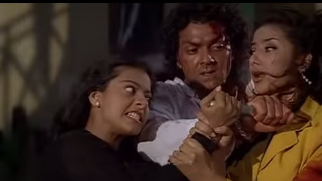 Kajol as the obsessive lover turned killer in <i>Gupt</i>.