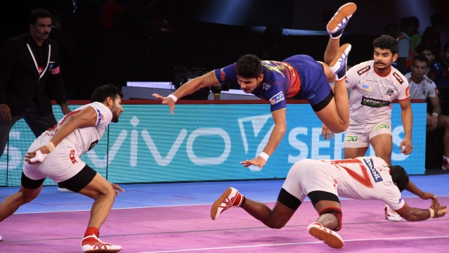 Naveen Kumar had an excellent raiding game for Dabang Delhi as he consistently put the points on board.