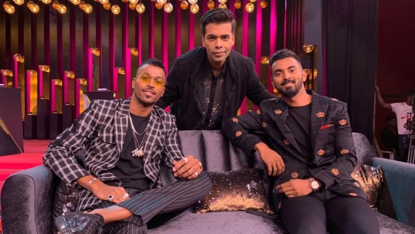 Karan Johar with Hardik Pandya and KL Rahul on the sets of Koffee with Karan.
