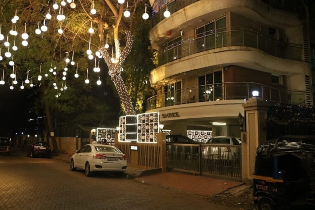 Ranveer Singh's house all lit up for the wedding.