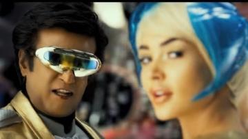 Rajinikanth and Amy Jackson in <i>2.0</i>.