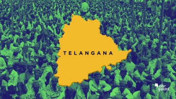 Image of farmers march (from across India) in Delhi, along with map of Telangana, used for representational purposes only.
