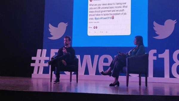 Twitter co-founder Jack Dorsey speaks at IIT Delhi.