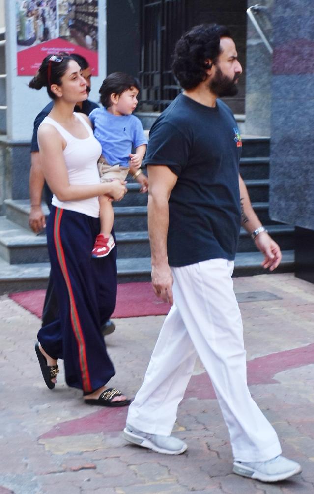 Kareena, Saif and Taimur spotted in Bandra.